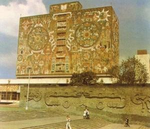 Universitätsbibliothek Mexiko-Stadt aus Henselmann, Irene u. Hermann: Das große Buch vom Bauen, Berlin 1976
