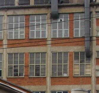 Fassadendetail eines Baťa-Gebäudes in Zlín