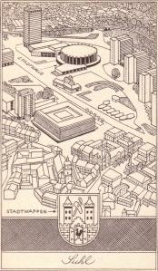 Illustration von Rudolf Peschel aus Nastoll, Roger: Mit Paula Bissig durch Südthüringen, Berlin 1984