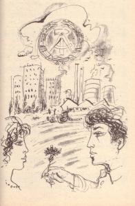 Illustration von Heinz Ebel aus Höchel, Lothar u. Sell, Rüdiger (Hrsg.): Liederbuch für die Klassen 5 bis 10, Berlin 1989