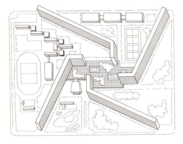 Vorschlag von Silvio Macetti für eine Großwohneinheit in Halle-Neustadt. Aus Macetti (N.K.), Silvio: Großwohneinheiten, Berlin 1968